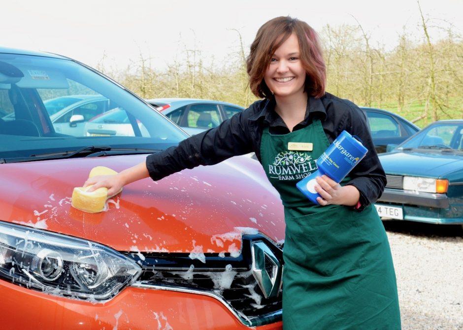 Kayla Fitzjohn, Deli Assistant at Rumwell Farm Shop, car wash